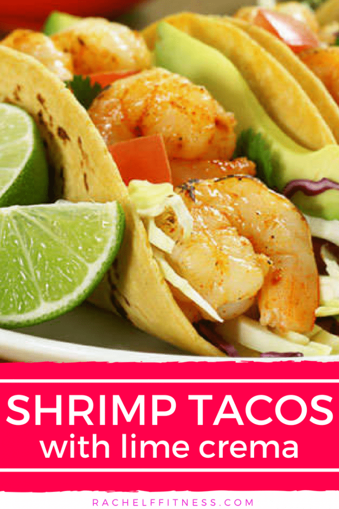 These seasoned shrimp tacos are flavorful and topped with lots of fresh veggies to make it a complete meal. easy to make and ready in under 20 minutes. Perfect for Taco Tuesday or any quick weeknight meal! | Rachel Freebairn Fitness | #TacoTuesday #shrimptacos #tacoseasoning #tacorecipe