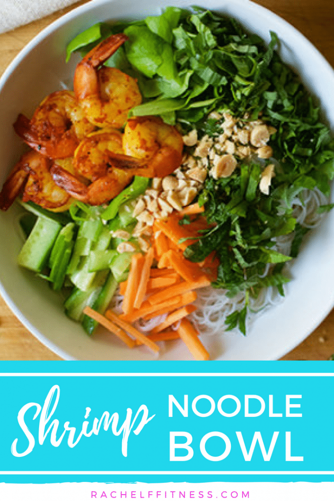 Quick and easy weeknight recipe. Skip the takeout and enjoy a fresh, homemade shrimp noodle bowl that's filled with healthy ingredients.