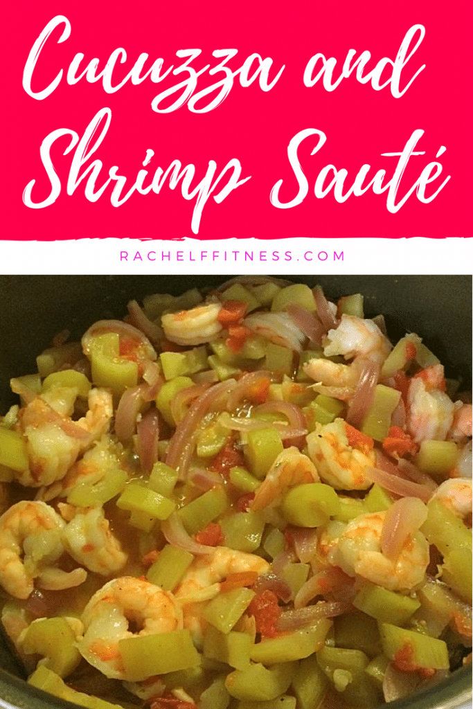Cucuzza and Shrimp Saute. This delicious Italian recipe is also known as Italian Goo-Gootz. It uses the Cucuzza squash, but another type of squash can be used if you can't find Cucuzza. I added in shrimp for protein, but it could be made without for a great vegetarian dish! | Rachel Freebairn Fitness | #shrimprecipe #healthyrecipe #healthydinner #italianrecipe