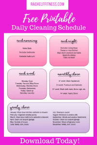 Download my free Daily Cleaning Schedule | Rachel Freebairn Fitness