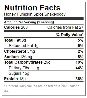 Honey Pumpkin Spice Shakeology Nutrition Label