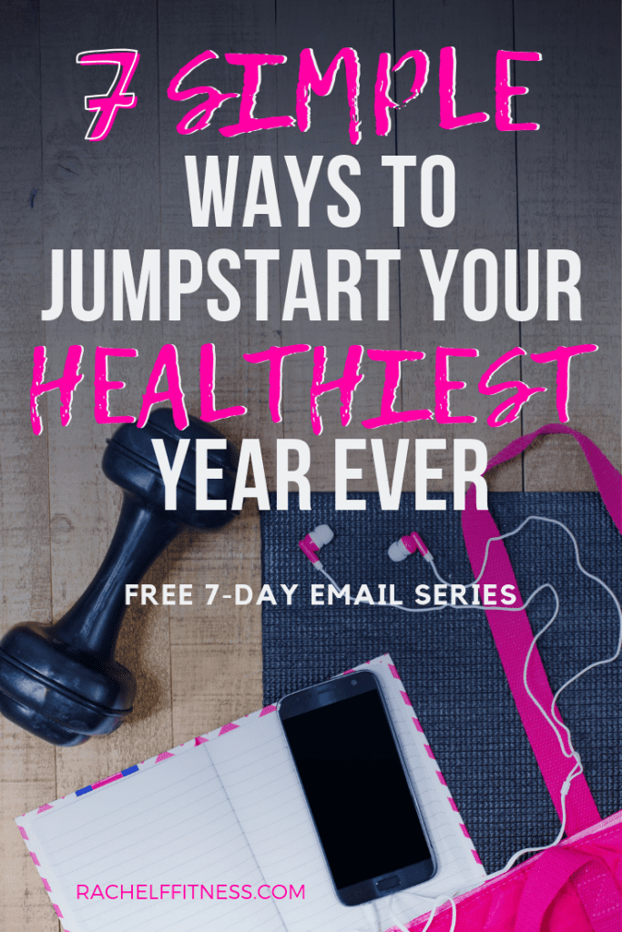 Jumpstart Your Healthiest Year - flat lay with dumbbell and pink bag